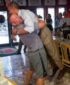 Barack Obama is picked up by Scott Van Duzer